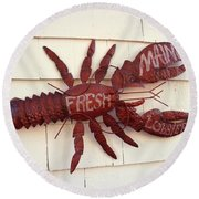 Fresh Maine Lobster Sign Boothbay Harbor Maine Round Beach Towel