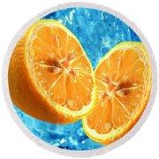 Fresh Orange Background Round Beach Towel
