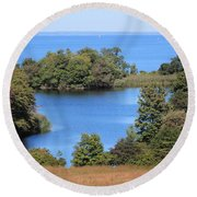 Fresh Pond At Caumsett Round Beach Towel