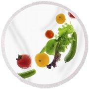 Fresh Vegetables Flying Round Beach Towel