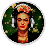 Round Beach Towel featuring the mixed media Frida Jams by Michelle Dallocchio