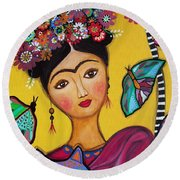Frida Kahlo And Her Cat Round Beach Towel by Pristine Cartera Turkus