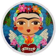 Frida Kahlo Angel And Flaming Heart Round Beach Towel