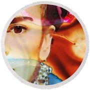 Frida Kahlo Art - Seeing Color Round Beach Towel by Sharon Cummings