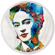Frida Kahlo Art - Viva La Frida - By Sharon Cummings Round Beach Towel