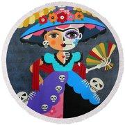 Frida Kahlo La Catrina Round Beach Towel
