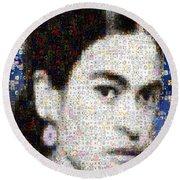 Frida Kahlo Mosaic Round Beach Towel