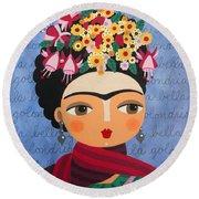 Frida Kahlo With Fuschias And Lantanas Round Beach Towel