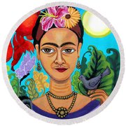 Frida Kahlo With Monkey And Bird Round Beach Towel by Genevieve Esson