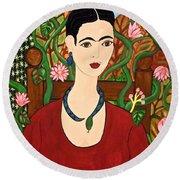 Frida With Vines Round Beach Towel