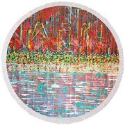 Friday At The Beach - Sold Round Beach Towel by George Riney