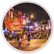 Friday Night On Beale Round Beach Towel by Liz Leyden