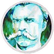 Friedrich Nietzsche Watercolor Portrait.1 Round Beach Towel
