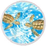 Friends Baby Sea Turtles Round Beach Towel