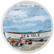 Friends By The Sea  Round Beach Towel