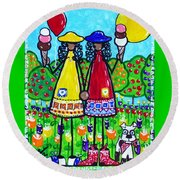 Round Beach Towel featuring the painting Friends by Jackie Carpenter