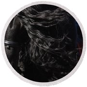 Round Beach Towel featuring the photograph Friesian Beauty D8197 by Wes and Dotty Weber