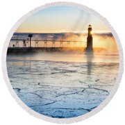Frigid Sunrise Fog  Round Beach Towel