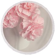 Frilly Pink Carnations Round Beach Towel