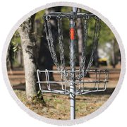 Frisbee Golf Round Beach Towel by Debra Forand