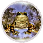 Round Beach Towel featuring the digital art Frog by Daniel Janda