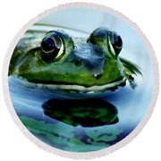 Green Frog I Only Have Eyes For You Round Beach Towel