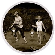 Frog Hunters Black And White Photograph Version Round Beach Towel