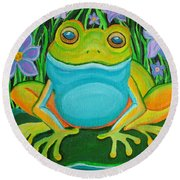 Frog On A Lily Pad Round Beach Towel