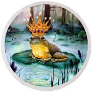 Frog Prince Round Beach Towel by Heather Calderon