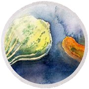 Froggy And Gourds Round Beach Towel