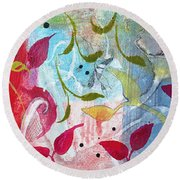 Round Beach Towel featuring the painting Frolic by Robin Maria Pedrero