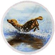 Frolicking Dog Round Beach Towel