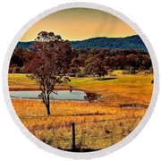 Round Beach Towel featuring the photograph From A Distance by Wallaroo Images