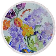 Round Beach Towel featuring the painting From Grammy's Garden by Beverley Harper Tinsley