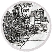 Round Beach Towel featuring the drawing From My Window by Leanne Seymour