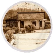 From Saloon To Store Front And Home In Sepia Round Beach Towel