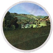 From Solsbury Hill Acrylic On Canvas Round Beach Towel