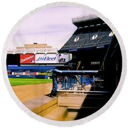 From The Dugout  The Yankee Stadium Round Beach Towel by Iconic Images Art Gallery David Pucciarelli
