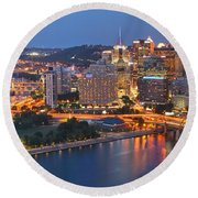 From The Fountain To Ft. Pitt Round Beach Towel