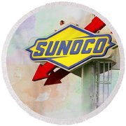 From The Sunoco Roost Round Beach Towel