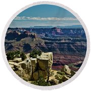 Round Beach Towel featuring the photograph From Yaki Point 2 Grand Canyon by Bob and Nadine Johnston