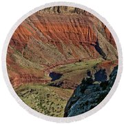 Round Beach Towel featuring the photograph From Yaki Point 5 Grand Canyon by Bob and Nadine Johnston