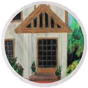 Round Beach Towel featuring the painting Front Door 1 by Jeanne Fischer