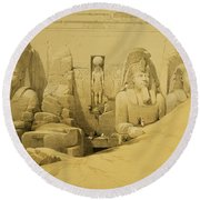 Front Elevation Of The Great Temple Of Aboo Simbel Round Beach Towel