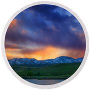 Front Range Light Show Round Beach Towel