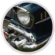 Front Side Of A Classic Car Round Beach Towel