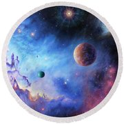 Frontiers Of The Cosmos Round Beach Towel