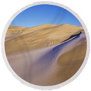 Frost Accents The Sand Dunes In Oregon Round Beach Towel