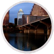 Frost Across The River Round Beach Towel