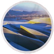 Frost And Sunlight Decorate The Sand Round Beach Towel